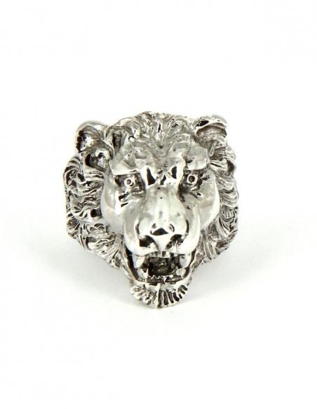 Bague tête de lion argent homme