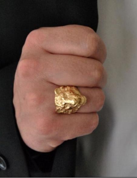 Bague lion pour homme en plaqué or