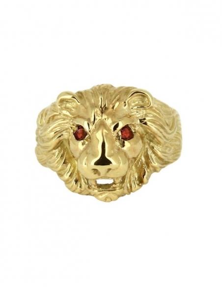 Bague tête de lion plaqué or