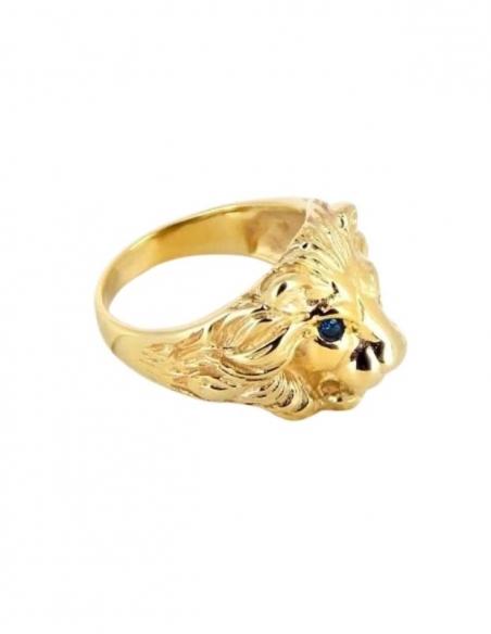 Bague tête de lion or 9k avec yeux bleus