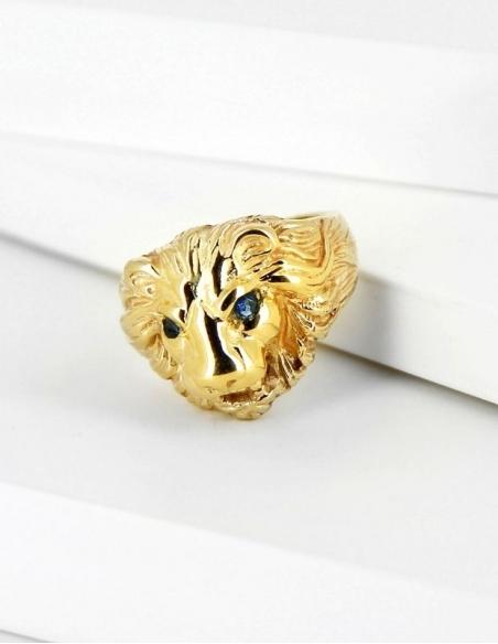 Bague tête de lion pour homme en or 18 carats (750/1000è)