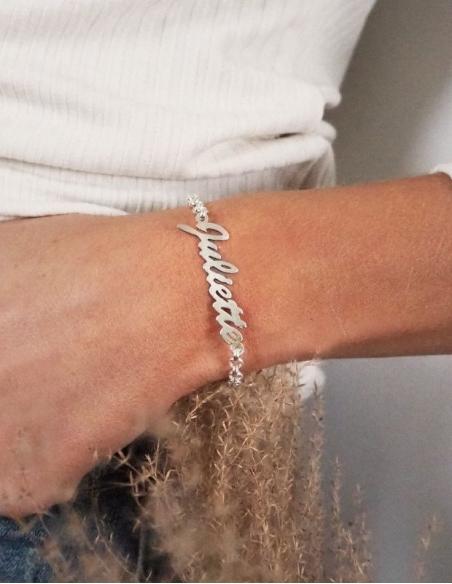 Bracelet femme en argent avec prénom