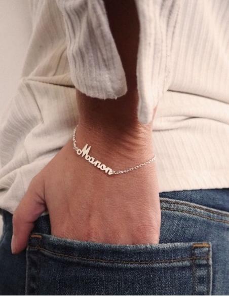 Bracelet prénom argent personnalisable pour femme