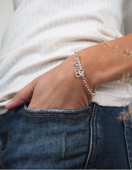 Bracelet prénom argent - Bracelet avec prénom - Bracelet prénom femme