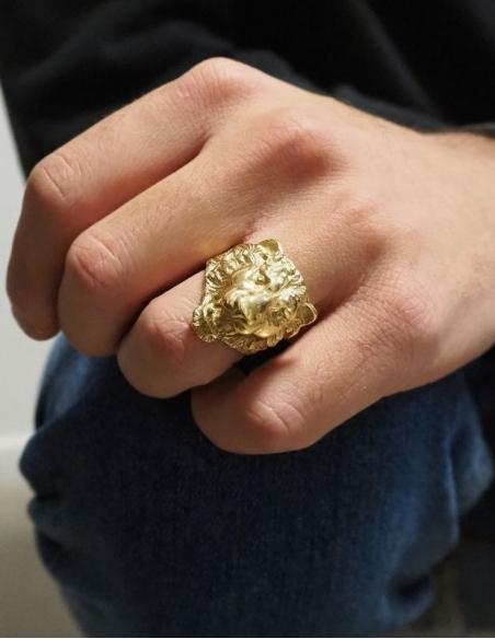 Bague lion or 9 carats