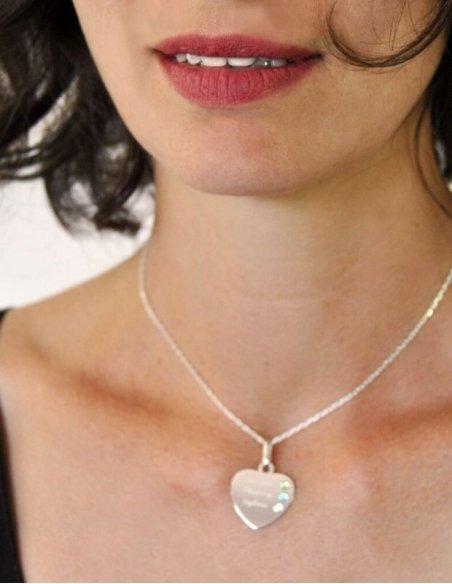 Collier coeur argent femme avec prénom