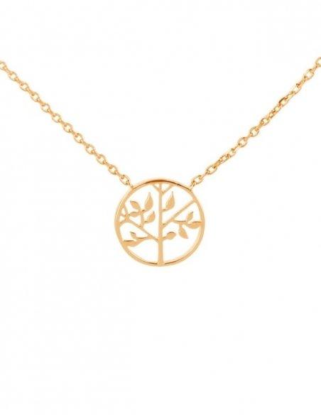 Collier femme arbre de vie en plaqué or