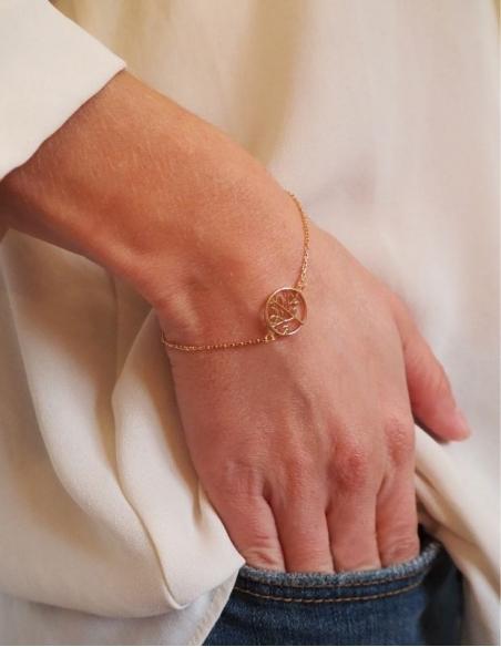 Bracelet arbre de vie doré en plaqué or