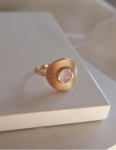 Bague femme fantaisie quartz rose