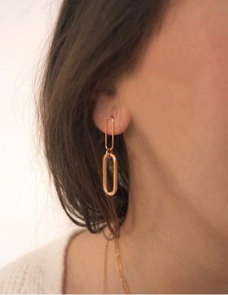 Boucles d'oreilles maillons plaqué or