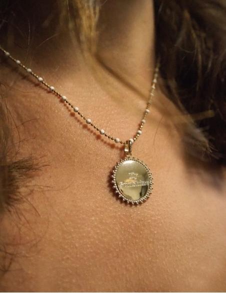 Collier pendentif soleil personnalisé gravé