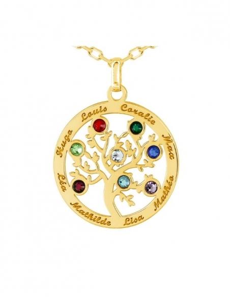 Collier prénom arbre de vie en or