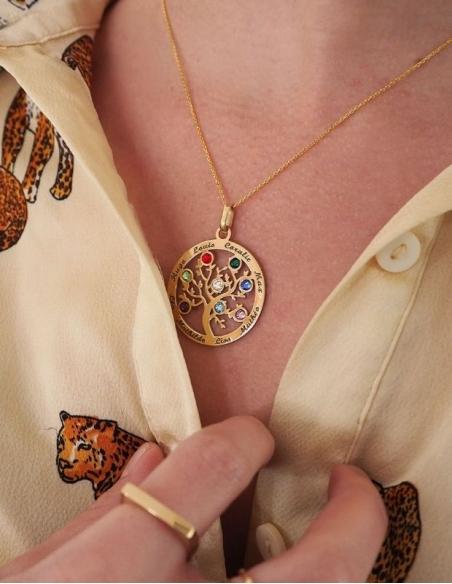 Collier prénom arbre de vie or avec pierres de naissances