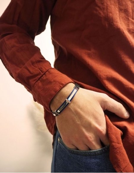 Bracelet homme acier bleu