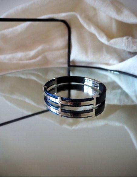 Bracelet homme acier bleu - Cadeau papa