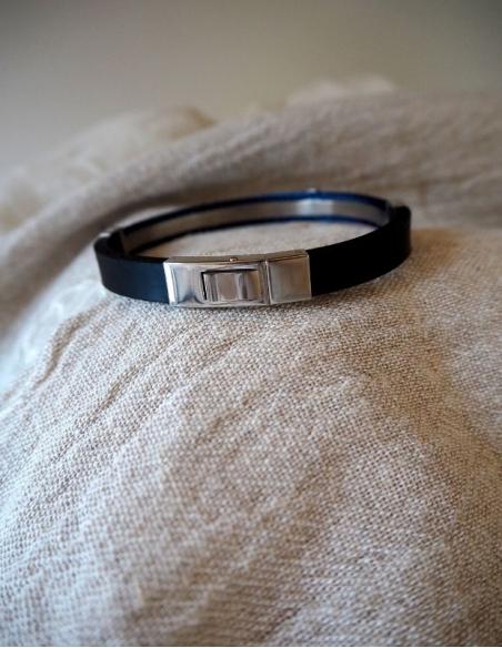 Bracelet homme acier bleu - cadeau bracelet papa