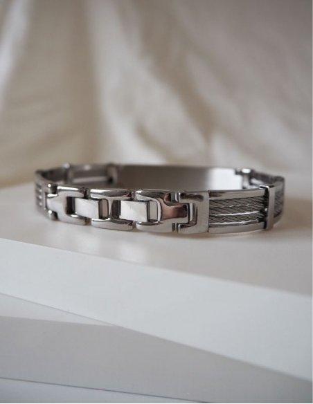 Bracelet acier homme câbles marin