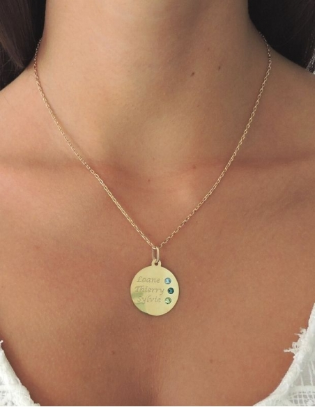 Collier médaille personnalisable en or 9 carats