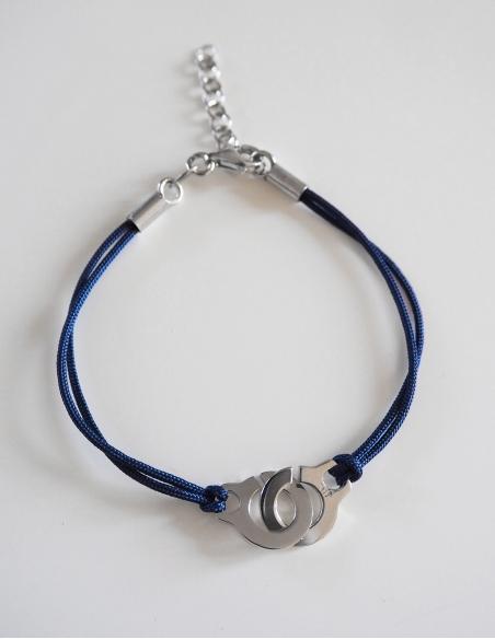 Bracelet menotte argent sur cordon de couleur bleu