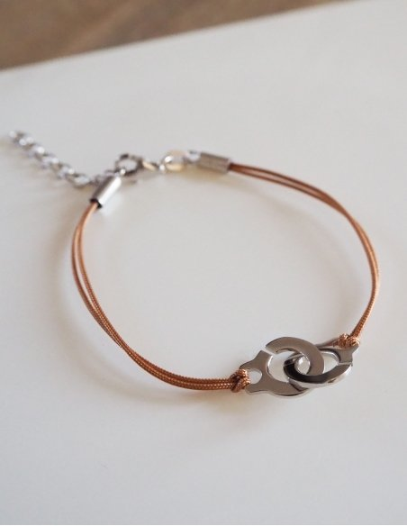 Bracelet menotte en argent pour femme avec cordon