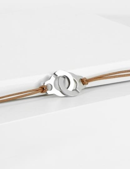 Bracelet menotte argent sur cordon