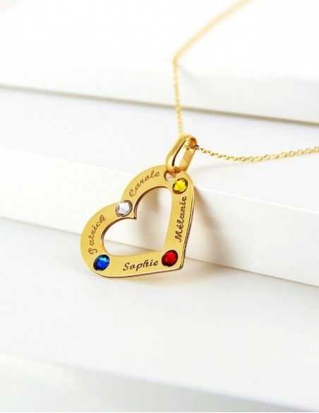 Collier prénom coeur or