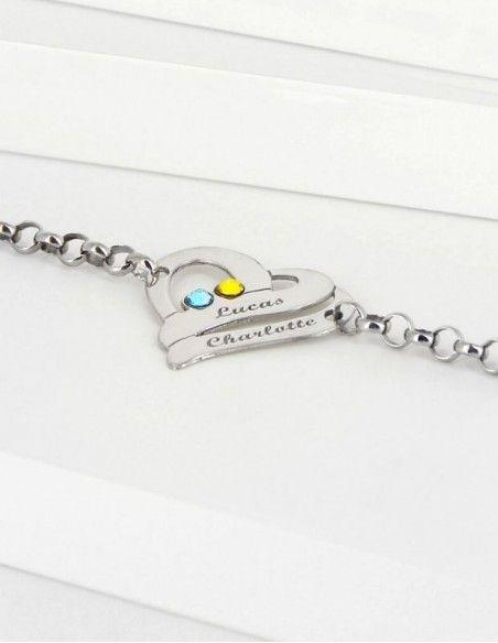 Bracelet prénom coeur argent