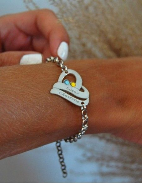 Bracelet prénom coeur argent à personnaliser