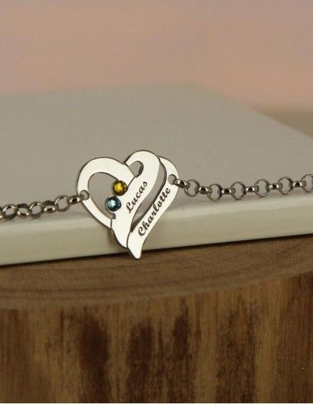 Bracelet cœur en argent