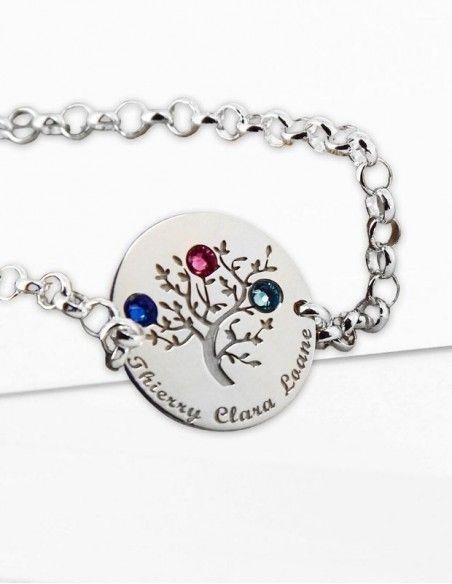 Bracelet arbre de vie argent personnalisable