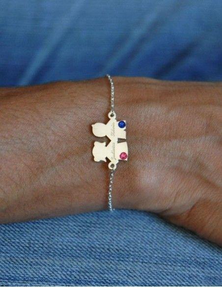Bracelet pendentif enfant argent gravé