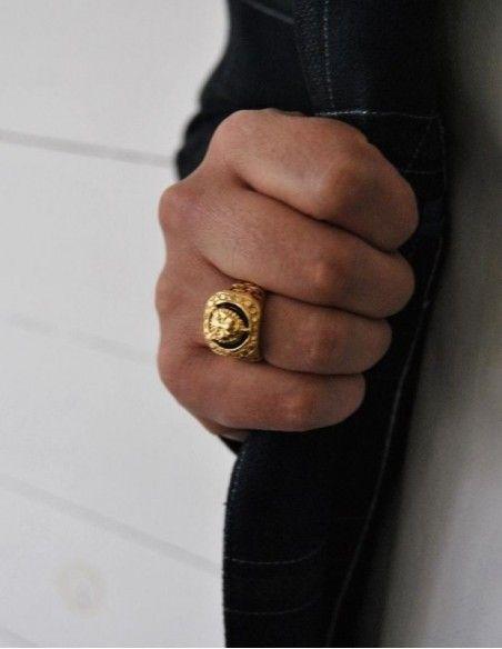 Bague tête de tigre or