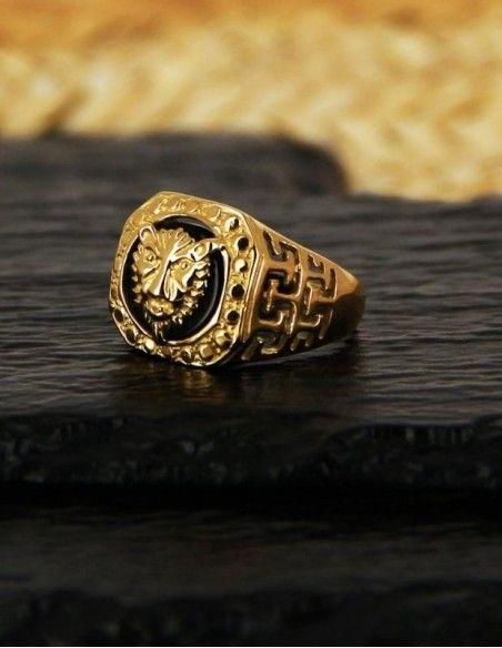 Chevalière tête de tigre or
