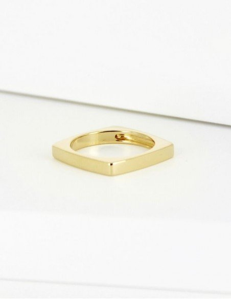 Bague carrée plaqué or femme