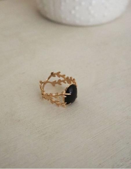 Bague pierre agate noire