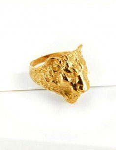 Chevalière tête de lion or